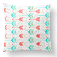 Throw Pillow Cover in Mint Coral Gold Arrows