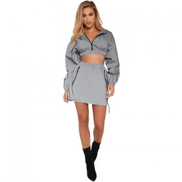 Sexy Reflective Button Pocket 2 Skirts Set