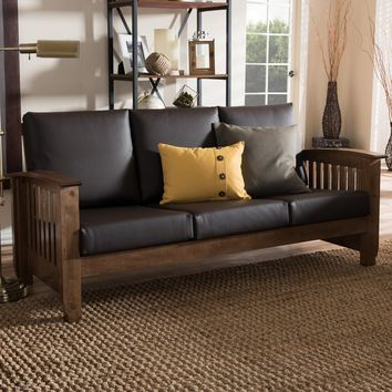 Baxton Studio Charlotte Modern Classic Mission Style Walnut Brown Wood and Dark Brown Faux Leather 3-Seater Sofa Set of 1