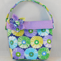 Little Girls' Navy, Green and Purple Purse With Detachable Fabric Flower Pin
