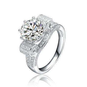 Clear 6.5 Faultless 3Ct Brilliant Synthetic Diamond Rings for Women Sterling 925 Silver Platinum Plated Ring Engagement Wedding Jewelry