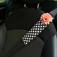 Car Automotive Seat Belt Cover Black And White Polka Dots W Pink Chiffon Flower