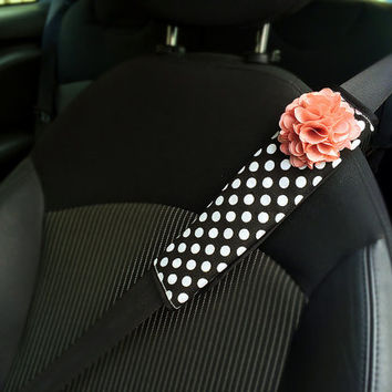 Car Automotive Seat Belt Cover -Black and White Polka dots w/ Pink Chiffon Flower, unique car automotive accessories decors