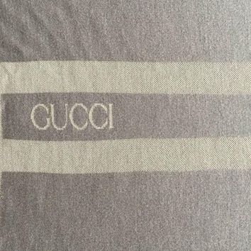 PEAPGQ6 GUCCI LOGO RARE BLANKET, THROW $1350 GREY 100%WOOL REVERSIBLE 78.0' X 54.0'