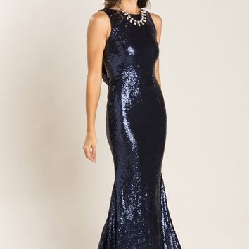 Gabrielle Navy Sequin Drape Back Gown