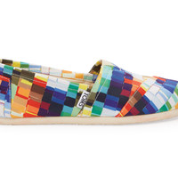 TOMS Multi Satin Paint Chips Women's Classics White