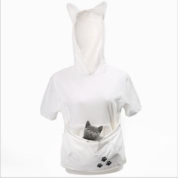 Cat Lovers Hoodies With Cuddle Pouch Dog Pet Hoodies For Casual Kangaroo Pullovers With Ears Sweatshirt Short Sleeves Summer Tee