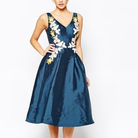 Chi Chi London Full prom Midi Dress with Embrodery at Waist