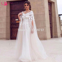 New Saudi Arabia Collection Bridal White Dress Boat Neck Special Design Wedding Dress With Lace Half Sleeve robe de mariage