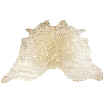 Large Metallic Acid Wash Cowhide Rug - Gold