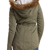 FAUX FUR TRIMMED CANVAS ANORAK COAT