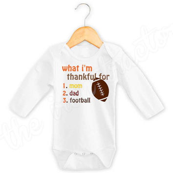 Thankful for mommy, daddy & football Shirt / Onesuit / Bib ~ Thanksgiving Iron On ~ Thanksgiving Shirt