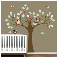 Children Pattern Leaf Tree with OwlsWall Decal by Modernwalls
