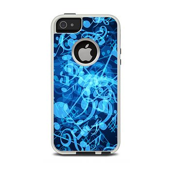 The Glowing Blue Music Notes Apple iPhone 5-5s Otterbox Commuter Case Skin Set