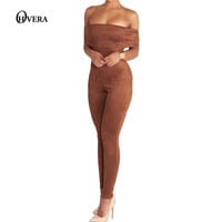 New Arrival Off Shoulder Suede Womens Jumpsuit 2017 Sexy Stretch Strapless Slash Neck Skinny Party Bodycon Jumpsuits Rompers