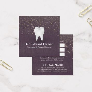 Modern Dental Care Dentist Appointment Purple Gold Square Business Card