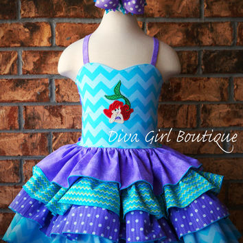Boutique Girls Birthday Dress Mermaid Ruffle Dress Pageant Dress Outfit of Choice Boutique Hair Bow 6m 12m 18m 24m 2T 3 4 5 6  8 10 12 14 16