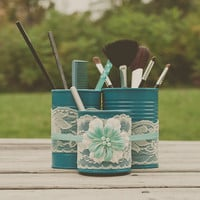 Desk organizer storage caddy. Office supplies. Hair accessories, makeup and brushes.