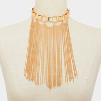 "12"" gold 8"" tassel fringe chain choker bib collar bib necklace"