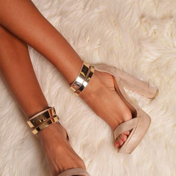 Roslyn Cream and Gold Effect Suede Heels | Pink Boutique