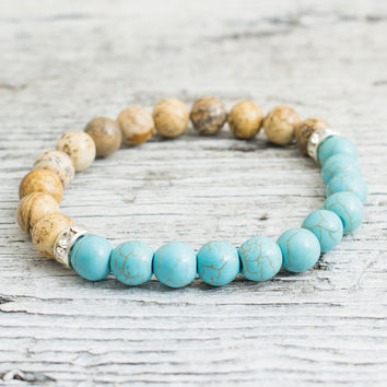 Brown jasper stone and turquoise beaded stretchy bracelet, made to order yoga bracelet, mens bracelet, womens bracelet