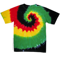 Rasta Spiral Tie Dye T Shirt on Sale for $16.95 at HippieShop.com