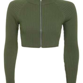 Modern Ribbed Crop Knitted Top - Tops - Clothing