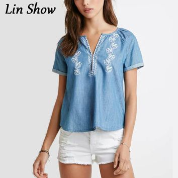 Summer Style Women Denim Shirts Short Sleeve Tops And Blouses Fashion Office Clothing