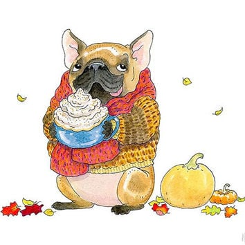 French Bulldog Art Print - 5x7, 8x10, 8.5x11 - Pumpkin Spice Frenchie - Cozy Autumn Art, Fall Decor, Frenchie Art Illustration by Inkpug!