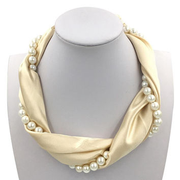 2016 Elegant Women Silk Scarf with Pearl Cross Jewelry Accessories Luxury Brand Foulard Bandana Ring Female Beige Solid Necklace