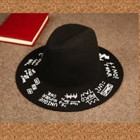 Graffiti Alphabet Woolen Wide Brim Fedora Hat