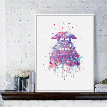 Original Watercolor Totoro Modern Japanese Anime Movie A4 Art Print Poster Abstract Wall Picture Canvas Painting Kids Room Decor