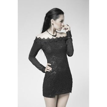 NEW Punk Rave Rock Gothic Black Sexy Lace Mini Dress PQ027 XS- XXXL Fashion
