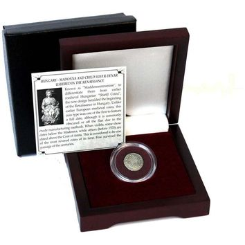 Madonna & Child Box: Virgin Mary and baby Jesus Silver Denar of Hungary