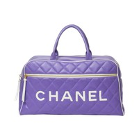 Chanel Travel Bag 47cm Purple Quilted Leather