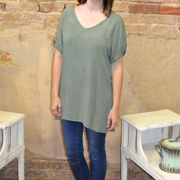Green Button Back Top