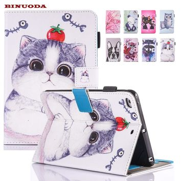 "Case For iPad 9.7"" Tablet Cute Cat Printed Folio Flip PU Leather Cover"