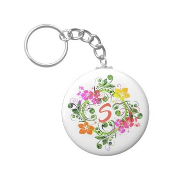 Tropical, hibiscus flower wreath monogram keychain