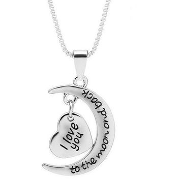 Women Moon Heart With I love You Letter Pendant Necklace