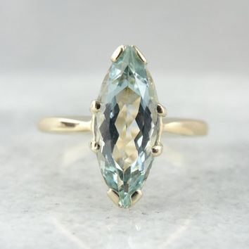 Marquise Cut Aquamarine Cocktail Ring, Long Solitaire Gemstone VLDENT-N