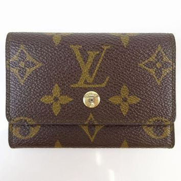 LMFON Tagre? Authentic Louis Vuitton Coin Purse Porte Monnaie Plat Browns Monogram 247834