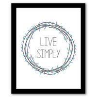 Live Simply, Blue Wall Art, Home Decor, Quote Art, Living Room Art, Typography, Inspirational Quote, Printable Art, INSTANT DOWNLOAD