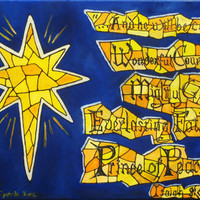 Blue Christmas painting, yellow and orange stained glass, Bible verse, holiday decoration, orignal art, Isaiah 9:6, Emmanual, star