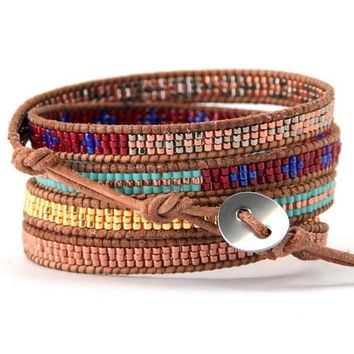 Handmade Seed Bead Multi Color Leather Wrap Bracelet