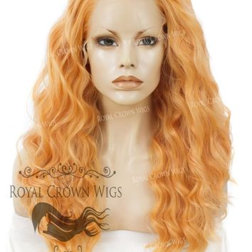 "24 inch Heat Safe Synthetic Lace Front ""Ada"" with Wavy Texture in Orange Sherbet"