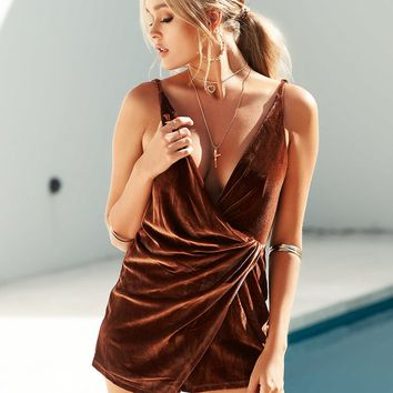 Lana Velvet Playsuit (Brown)
