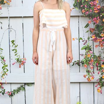 Striped to Perfection Jumpsuit w/ Front Tie {Tangerine+White}