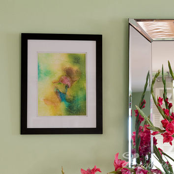 "Abstract Fine Art Print  ""Happy Swirl"" on WaterColor Paper. Fine Art Photography. Unique Fine Art Artwork, Wall Art Decor. Green Abstract"