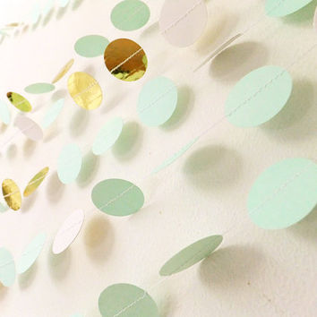 Paper Garland - Mint Green & Gold Circles - 40ft Length