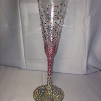 Champagne flute made for a bridal shower.  Customizable colors to make the wedding theme.